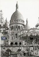 KISS FROM PARIS. Illustration De La BASILIQUE SACRE COEUR. Manège - Sacré Coeur