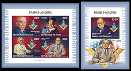 Imperf. NIGER 2018 - Freemasons, M/S + S/S. Official Issue - Franc-Maçonnerie