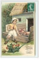 N°5647 - Carte Gaufrée - Bonne Année - Enfant Assis à Coté De Cochons - Champignon, Sac De Pièces - Nieuwjaar