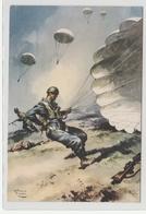 Cartolina  Viaggiata - Sent -  Paracadutisti In Azione - Illustratore V. Pisani - Manovre