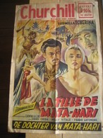 AFFICHE CINEMA 1955 LA FILLE DE MATA-HARI Avec LUDMILLA TCHERINA -CINEMA CHURCHILL à LIEGE -Imp. L. & H. VERSTEGEN Brux. - Afiches & Pósters