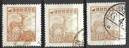 8Bv-955:restje: 3 Zegels 500 (H) ...om Verder Uit Te Zoeken... - Corée Du Sud