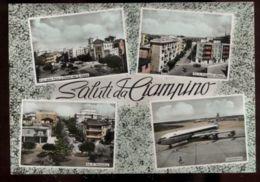 C719 SALUTI DA CIAMPINO ACQUARELLATA AEROPORTO AEREO VIA IV NOVEMBRE VIA FRNCESCO D'ASSISI PIAZZA DELLA PACE E CHIESA VG - Italia