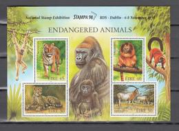 Ireland 1998,4V In Block,tiger,tijger,cheetah,monkey,appen,affen,oryx,gorilla,MNH/Postfris,(L3447) - Apen