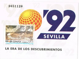 31866. Hojita Exposicion Universal SEVILLA 1992, Ed. Num 3191 ** - 1931-Hoy: 2ª República - ... Juan Carlos I