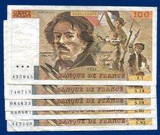 Lot 5 Billets 100fr Delacroix Dans L état - 1962-1997 ''Francs''