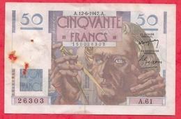 "50 Francs ""Les Verriers"" Du 12/06/1947.A----G/TB+---Série A.61 - 1871-1952 Circulated During XXth"