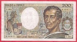 """200 Francs """"Montesquieu"""" 1981----VF/SUP---Série U.001 - 1962-1997 ''Francs''"""