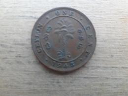 Sri Lanka  (ceylon)  1  Cent  1943  Km 111 A - Sri Lanka