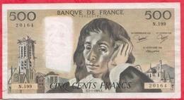 """500 Francs """"Pascal"""" Du 05/01/1984.E---FR/TB---Série N.199 - 1962-1997 ''Francs''"""