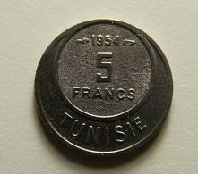 Tunisia 5 Francs 1954 Varnished - Tunisie