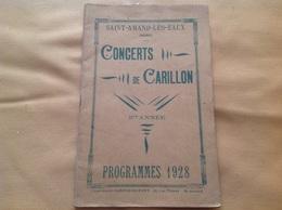 Programme 1928, Concerts De Carillon à Saint-amand-les-eaux, 32 Pages - Programmi