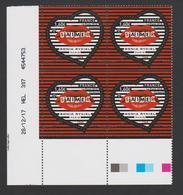 FRANCE - 2018 - Saint- Valentin - Coeur Sonia Ryckiel à 1,60€ N° 5199 - Bloc De 4 Daté,numéroté - Gommés - Neuf ** - France