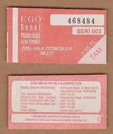 AC - BUS TICKET ANKARA, TURKEY - Titres De Transport