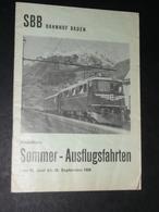 Rare Ancien Document SBB Bahnhof Baden, Sommer-Ausflugsfahrten 1958, Horaires Tarifs Train, Allemagne - Europe