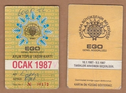 AC - MONTHLY BUS CARD JANUARY 1987 ANKARA, TURKEY - Titres De Transport