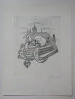 Ex-libris Illustré Tchecoslovaquie XXème - AD. MALY - Livres à La Tête De Mort - Ex-libris