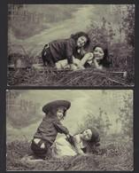 FILLETTE ET GARCON  DANS LE FION * 2 CPA * 1908 - Scènes & Paysages