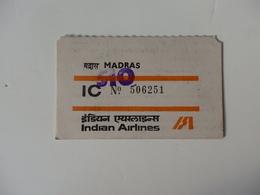 Ticket De Bagages Madras Sur Indian Airlines En 1955. - Titres De Transport