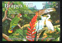 BRESIL. BF 75 De 1988. Perroquet/Aigrette/Brapex VII. - Parrots