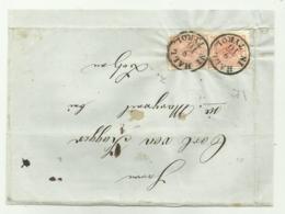 2 FRANCOBOLLI DA 3 KREUZER HALL IN TYROL 1857   SU FRONTESPIZIO - Gebruikt