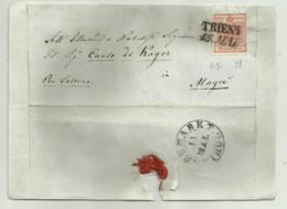 FRANCOBOLLO DA 3  KREUZER TRIENT   1857 CON PARTE DI SIGILLO CERALACCA   SU FRONTESPIZIO - 1850-1918 Imperium