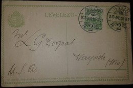 O) 1913 HUNGARY. ROYAL CROW 5f - TURUL AND CROW OF ST STEPHEN  SCT 51 5f. POSTAL STATIONERY TO USA - Postal Stationery