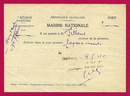 Laissez Passer établi Par La Marine Nationale - Place De Cherbourg - Année 1940 - Documents