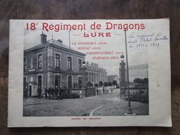 Ancien Rare Livre Ou Livret Militaire 18e 18ème 18 Eme Régiment De Dragons Lure Près De Roye Ronchamp Belfort WW1 CPA - Catalogues