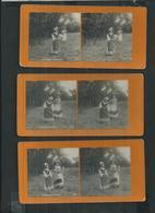 Série De 6 Photos Stéréoscopiques , La Cigale Et La Fourmi - Photos Stéréoscopiques