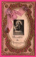 Image Pieuse - Dentelée - Dentelle - Canivet - Souvenir De Communion - Ruban Rose - Images Religieuses