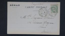 CPA A En Tete Du Sénat Affranchi Type Blanc N° 111 Oblitération Paris 85 Senat Tarif Imprimé Fevrier 1902 - Storia Postale