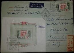 O) 1955 HUNGARY, GOVERNMENT PRINTING -ESTABLISHMENT  SCT 1114 60f,  IFJUSAGI'S HUNGARIAN INTERIOR CIRCULATION -TO BOGOTA - Hungary