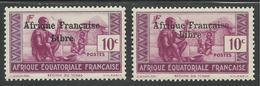 AFRIQUE EQUATORIALE FRANCAISE - AEF - A.E.F. - 1941 - YT 160** - VARIETE SURCHARGE ESPACEE DE 3,5 Mm - A.E.F. (1936-1958)