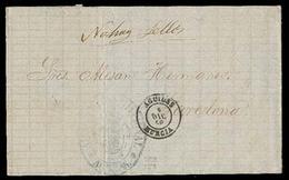 E-ISABEL II. 1868 (5 Dic). Aguilas/Murcia A Barcelona. NO HAY SELLOS. Carta Cta. Mns Y Fechador, Ademas De Marca En Azul - Spain