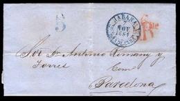 """CUBA. 1851 (7 Nov). Havana To Barcelona/Peninsula. EL With Blue Cds+ """" 5 Reales"""" Red Arrival + """"5"""" Departure In Blue +lo - Cuba"""