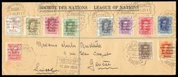 E-ALFONSO XIII. 1929 (12 Julio) 455/464+468. Sociedad De Naciones. Carta Certificada A Suiza Con Matasellos Reunion Del - Spain