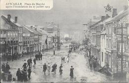 AYWAILLE - Place Du Marché, Après L'inondation Du 27 Juillet 1913 - Ed: H. Weber - 2 Scans - Aywaille