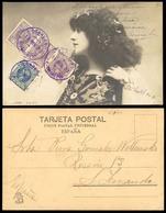 E-FERNANDO POO. 1903 (14 Nov). Ed.123º (x3), 122º. Santa Isabel A San Fernando/Cadiz. Preciosa Tarjeta Postal Romantica - Spain