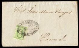 "MEXICO. 1857 912 Sept). Sc.3º. Zacatecas To Parras. EL Franked 2ts Green, Zacatecas Name, Oval ""FRANCO"" (xx).  Unlisted - Mexico"