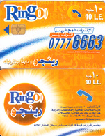 EGYPT - Orange & White, Ring-O Telecard 10 L.E., Chip Incard 4, Black CN : 2000, Used - Egypt
