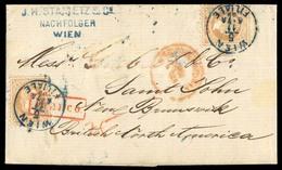 AUSTRIA. 1869 (5 Nov) (Sc 31ºx2). AUSTRIA-CANADA-NEW BRUNSWICK. Wien To Saint John/New Brunswick/British North America ( - Austria
