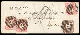PORTUGAL. 18664 (21 Dec). Af.16º(3), 14º. Leiria To London/UK. Envelope Franked D.Luis I Borja Freire Issue 5c Dark Brow - Portugal
