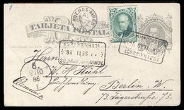 ARGENTINA. 1886 (12 Sept). Corrientes To Germany (21 Oct 86) Via Bs A (22 Sept). 4c. Grey Stat Card + 2c.green Adtl. (Sc - Argentine