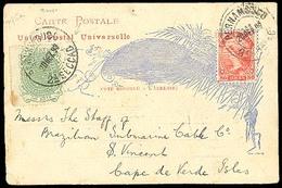 BRAZIL. CAPE VERDE - BRAZIL. 1893 (20 Dec). Brazil To San Vicente / Cape Verde (29 Dec). Very Scarce Incoming Mail Stati - Unclassified