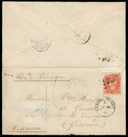 CHILE. 1871 (2 July). Santiago - France. Env Fkd 5c Orange Engraved Issue, Tied Cork Cancel, Blue Cds Alongside. Via BPO - Chile