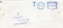 Napoli. 1998. Annullo Meccanico Azzurro SERVIZIO TASSATE *NAPOLI A.D.* L. 1800, Su Lettera - 1991-00: Marcofilia