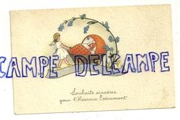Souhaits Sincères Pour L'Heureux Evènement. Petit Ange, Bébé Dans Son Berceau. 1953. Coloprint ELITE - Geboorte