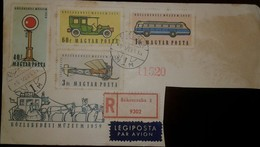 O) 1959 HUNGARY, TRANSPORT MUSEUM BUDAPEST -LOCOMOTIVE-SEMAPHORE-AUTOMOBILE, ICARUS BUS-PLANE,AIRPLANE, REGISTERED FROM - Hungary