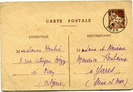 ALGERIE ENTIER POSTAL DEPART ORAN R. P.  31-7-41 ORAN POUR LA FRANCE - Algérie (1924-1962)